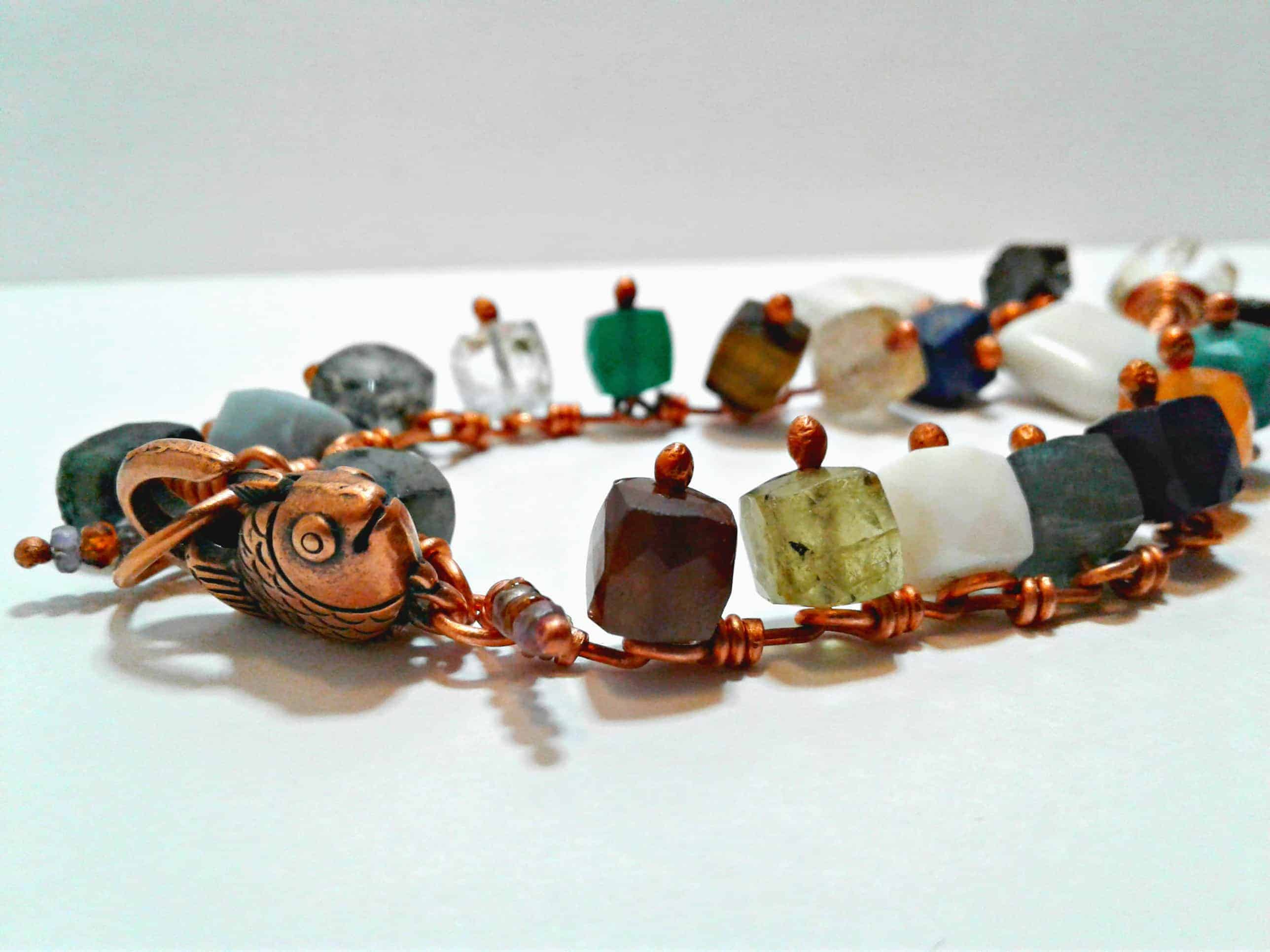 ACJ custom gemstone energy bracelet in copper ACJ-custom-bracelet-redesign-fish-clasp