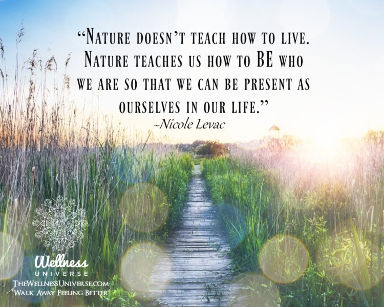 """Nature doesn't teach how to live. Nature teaches us how to BE who we are so that we can be pres"