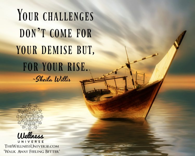 Your challenges don't come for your demise but, for your rise. ~@sheilawillis #WUWorldChanger http