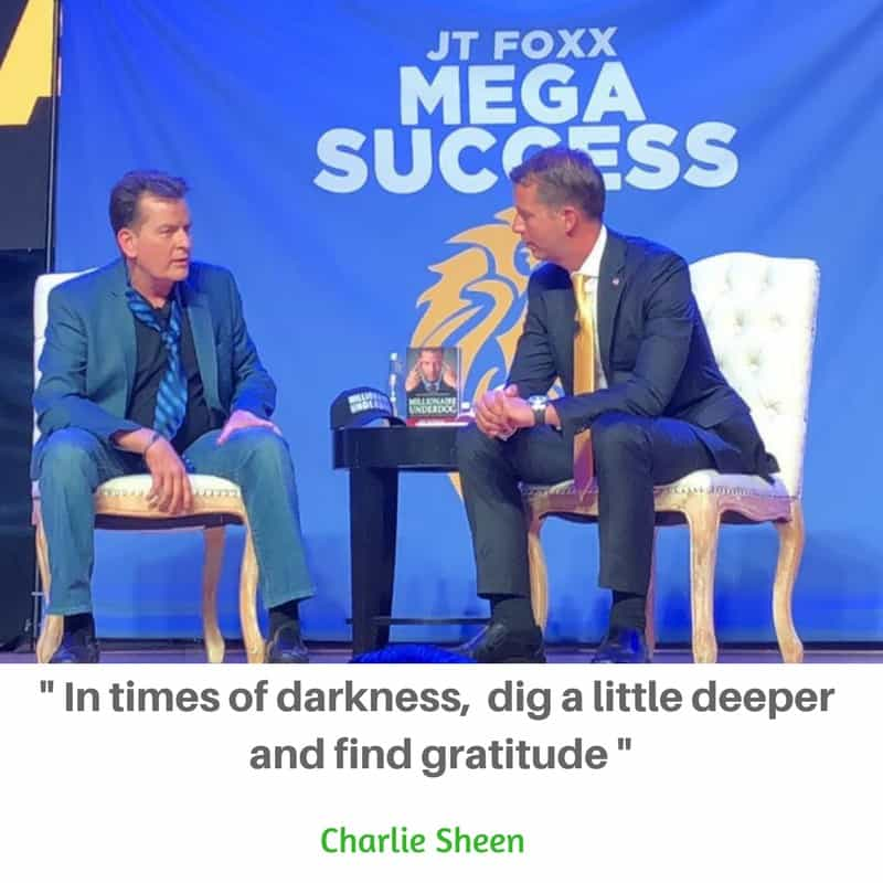 Actor Charlie Sheen getting real at the JT Foxx #Megasuccess in Anaheim, CA, Nov 2017. #Gratitude is