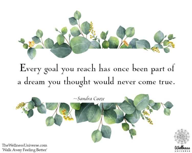 Every goal you reach has once been part of a dream you thought would never come true. ~@SandraCooze