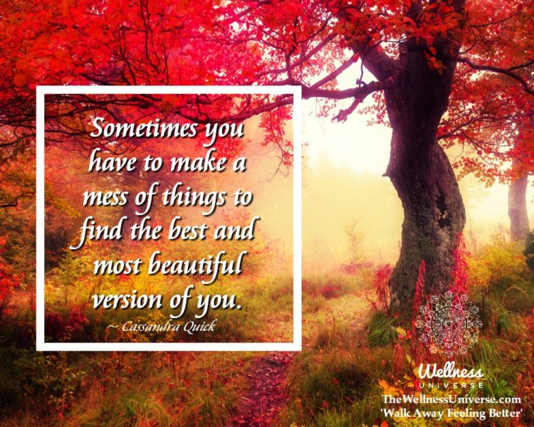 Sometimes you have to make a mess of things to find the best and most beautiful version of you. ~ @C