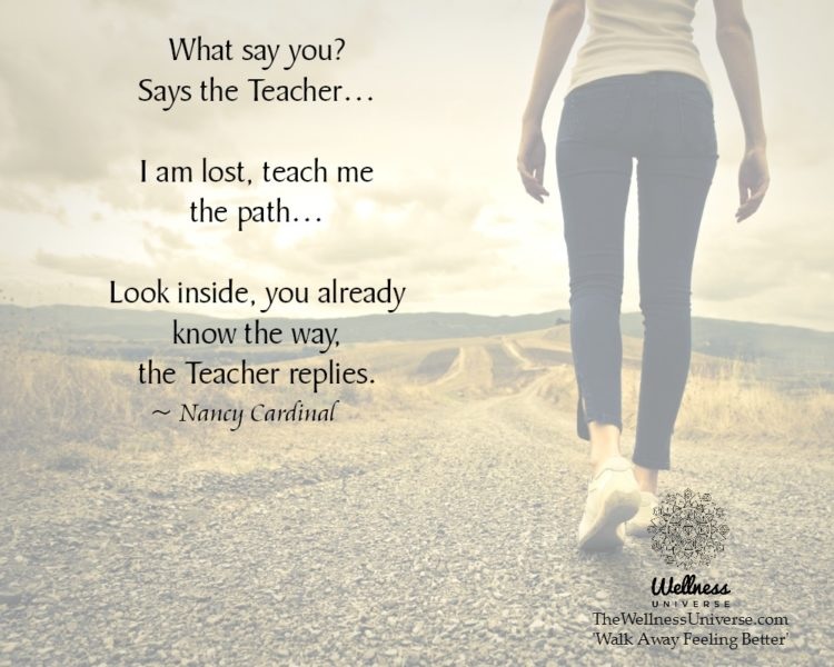 What say you? Says the Teacher… I am lost, teach me the path… Look inside, you already know the