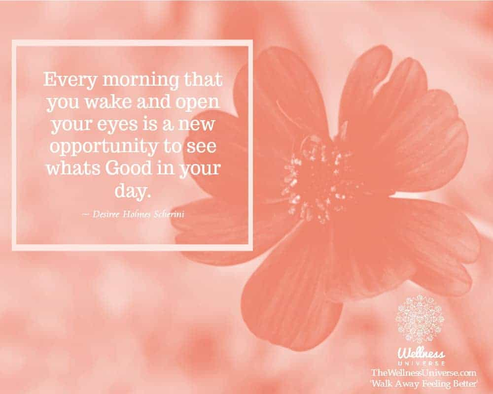 Every morning that you wake and open your eyes is a new opportunity to see whats Good in your day. ~