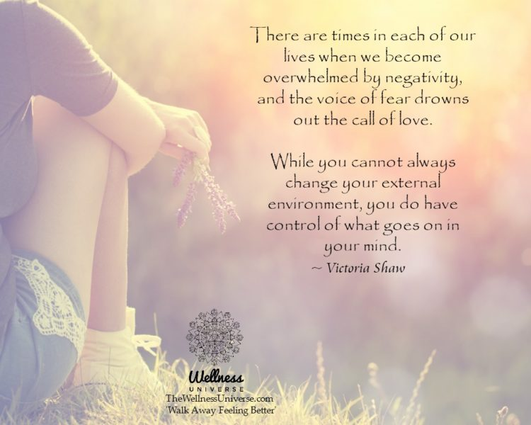 There are times in each of our lives when we become overwhelmed by negativity, and the voice of fear