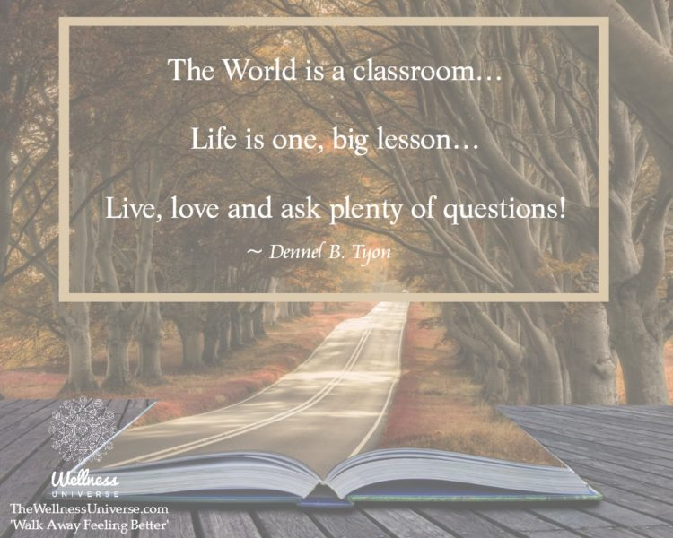 The World is a classroom… Life is one, big lesson… Live, love and ask plenty of questions! ~ @De