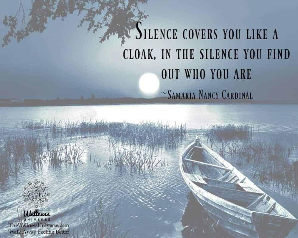 Silence covers you like a cloak, in the silence you find out who you are ~Samaria @NancyCardinal #WU