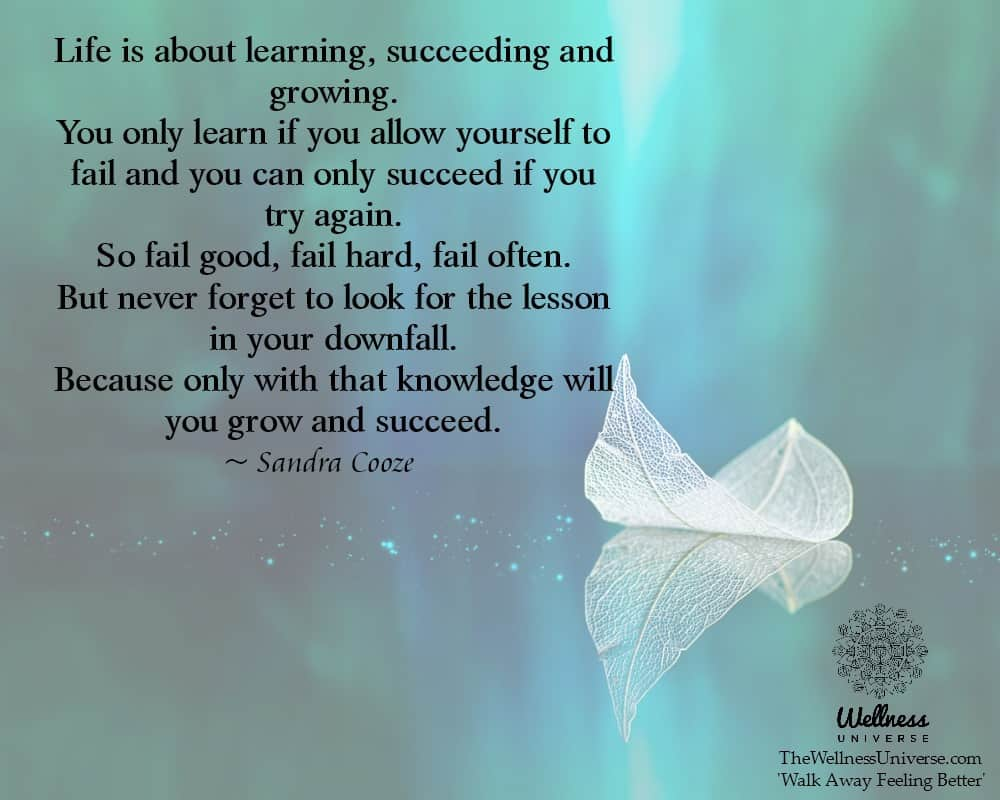 Life is about learning, succeeding and growing. You only learn if you allow yourself to fail and you