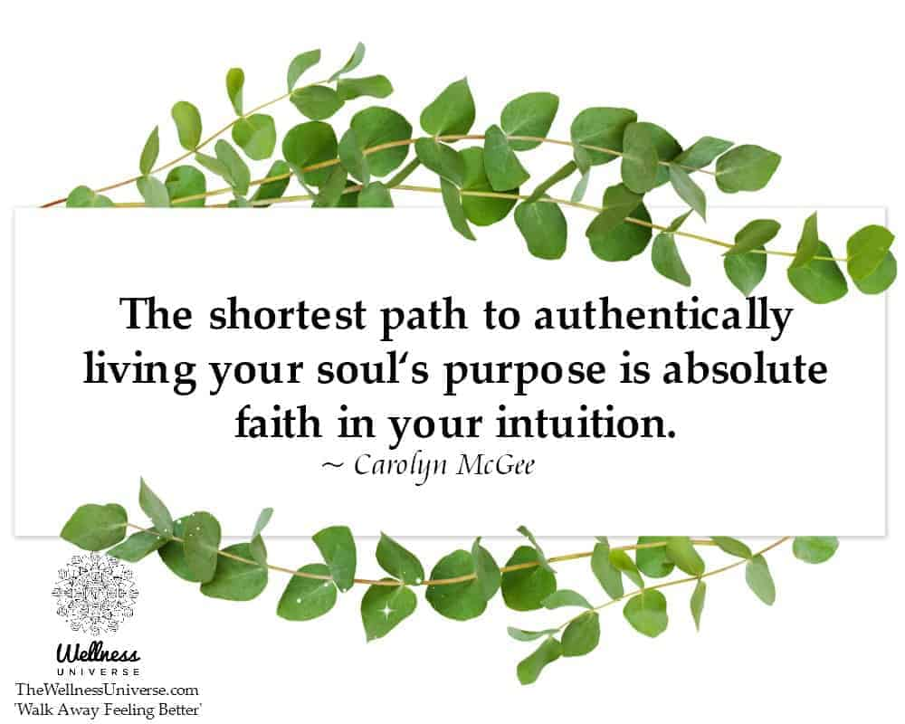 The shortest path to authentically living your soul's purpose is absolute faith in your intuition.