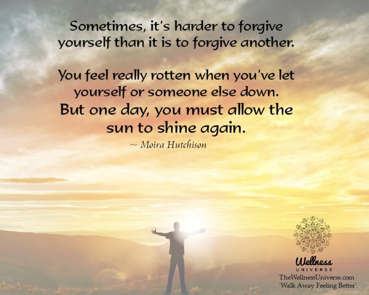 Sometimes, it's harder to forgive yourself than it is to forgive another. You feel really rotten w