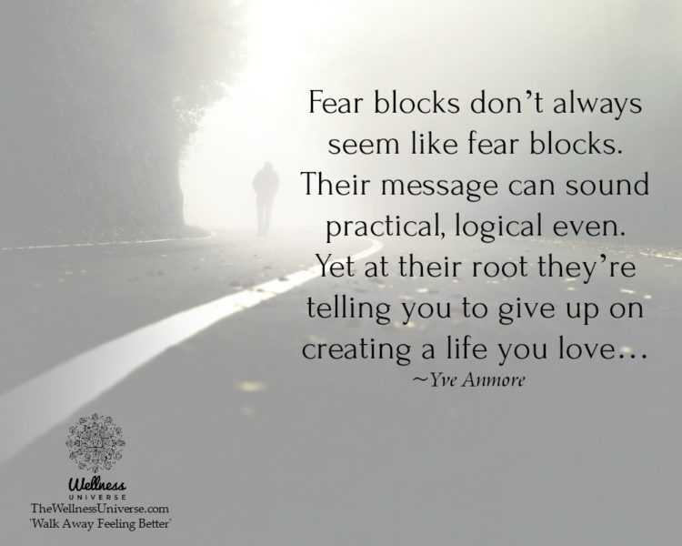 """Fear blocks don't always seem like fear blocks. Their message can sound practical, logical even"