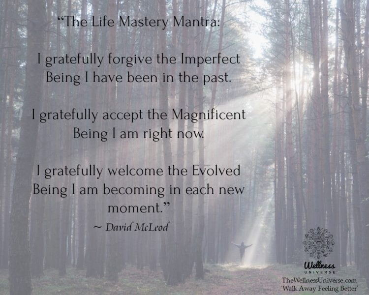 """The Life Mastery Mantra: I gratefully forgive the Imperfect Being I have been in the past. I grat"