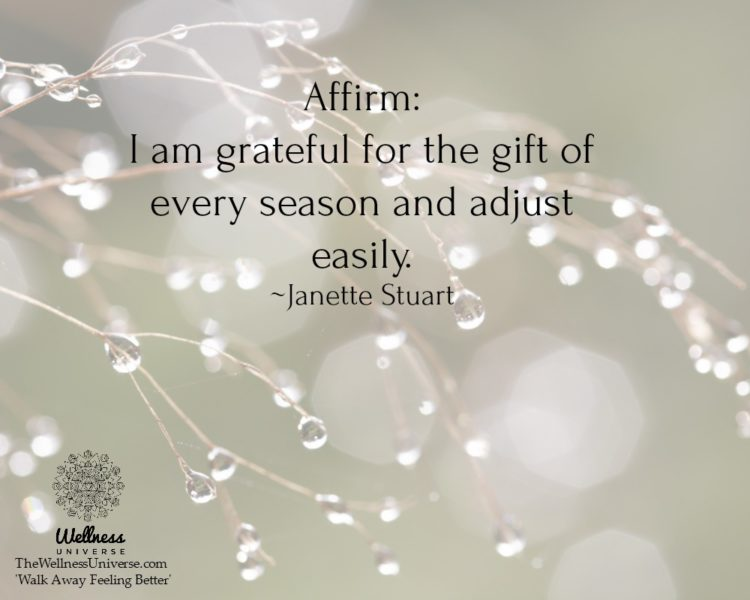Affirm: I am grateful for the gift of every season and adjust easily. ~@JanetteStuart Excerpt from: