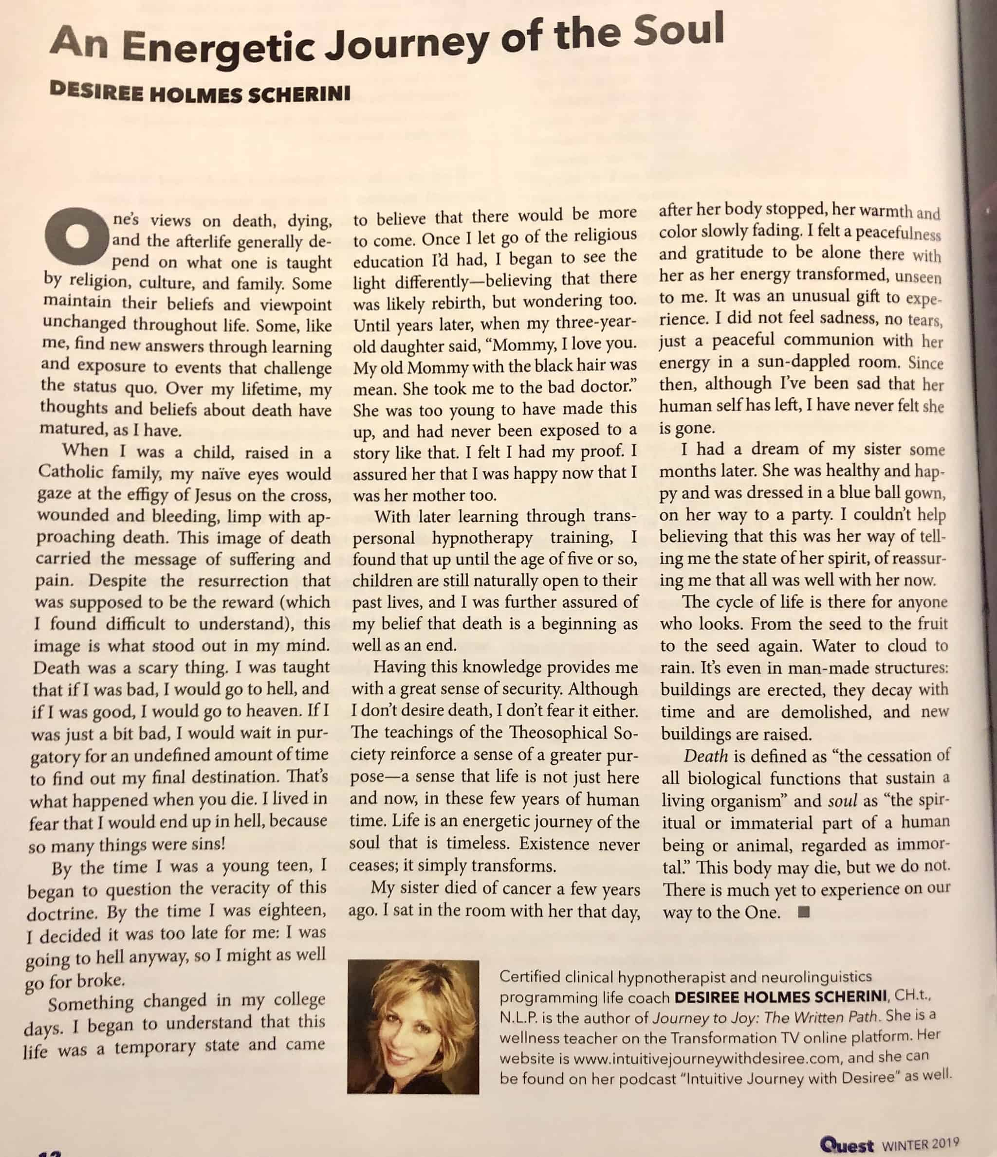 I am honored to have my article published in the Winter 2019 publication of the Theosophical Society