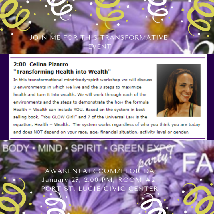 "Transformative Event Announcement! Join me for ""Transforming Health into Wealth"" Jan 27,"