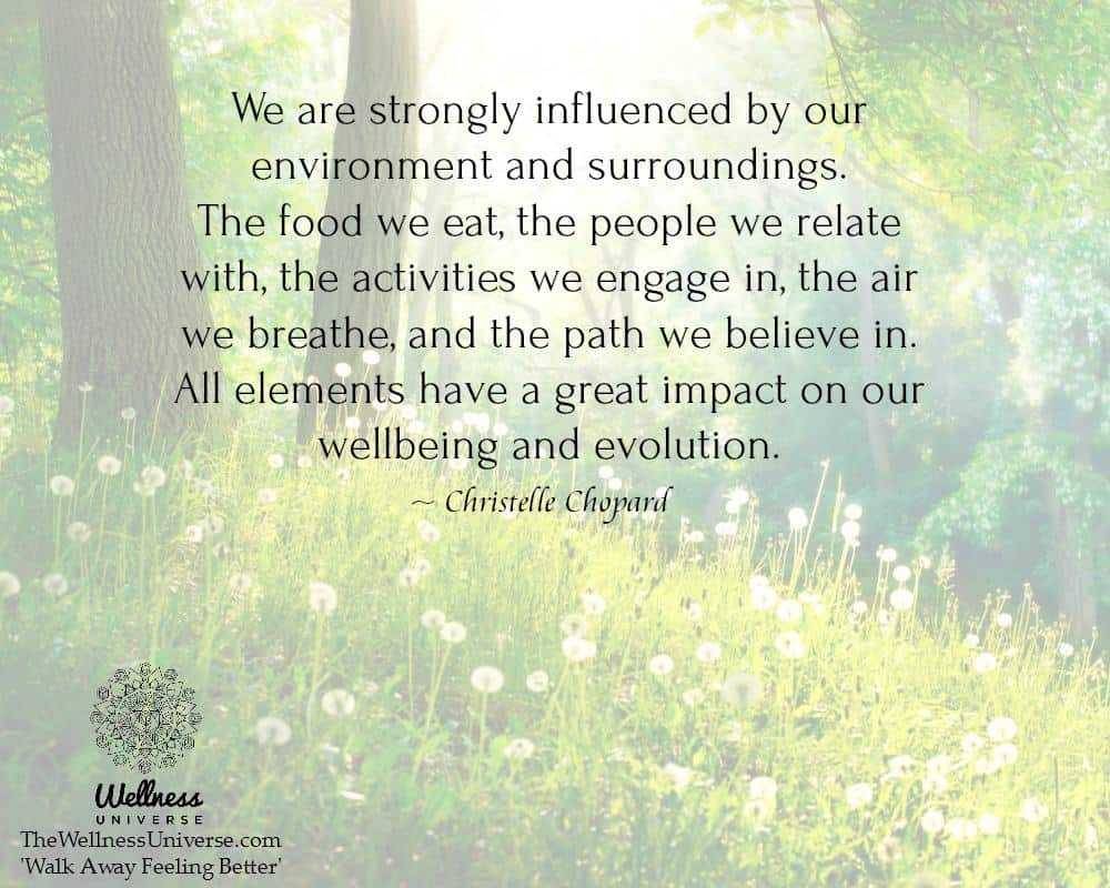 We are strongly influenced by our environment and surroundings. The food we eat, the people we relat