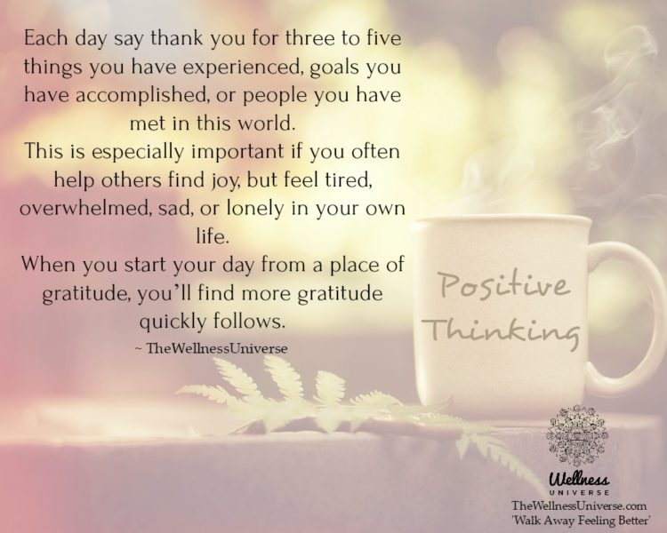 Each day say thank you for three to five things you have experienced, goals you have accomplished, o