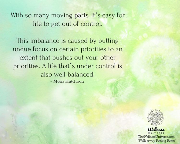 With so many moving parts, it's easy for life to get out of control. This imbalance is caused by p