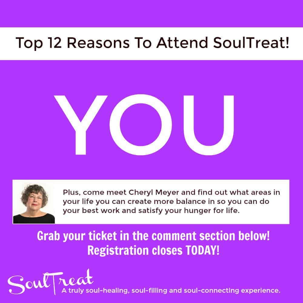 Another reason to attend SoulTreat? For YOU! You do NOT want to miss this! If there is even a small