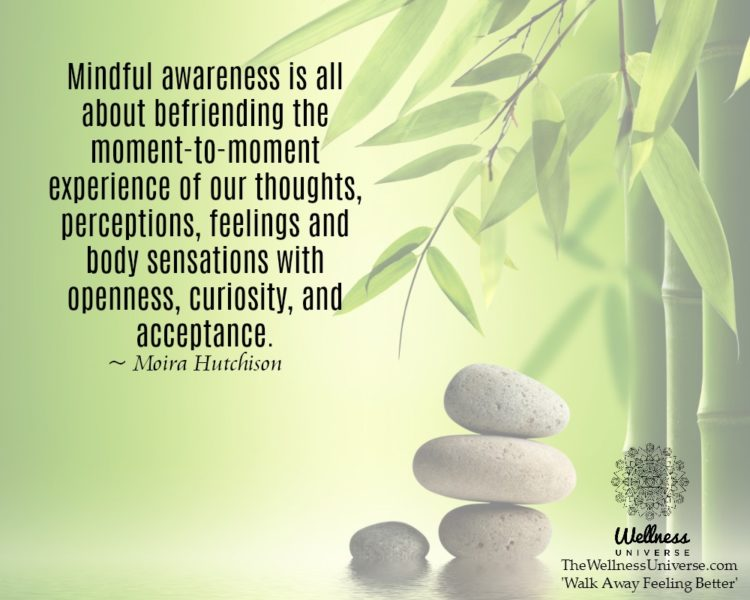 Mindful awareness is all about befriending the moment-to-moment experience of our thoughts, percepti