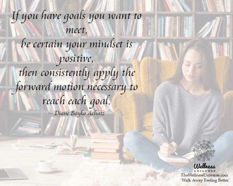 If you have goals you want to meet, be certain your mindset is positive, then consistently apply the