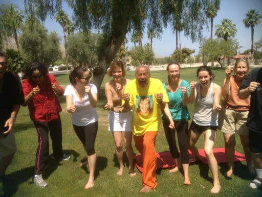 Stress buster rocking chair yoga with the world famous Yoig Ramesh in Palm Springs on weekends. Lol