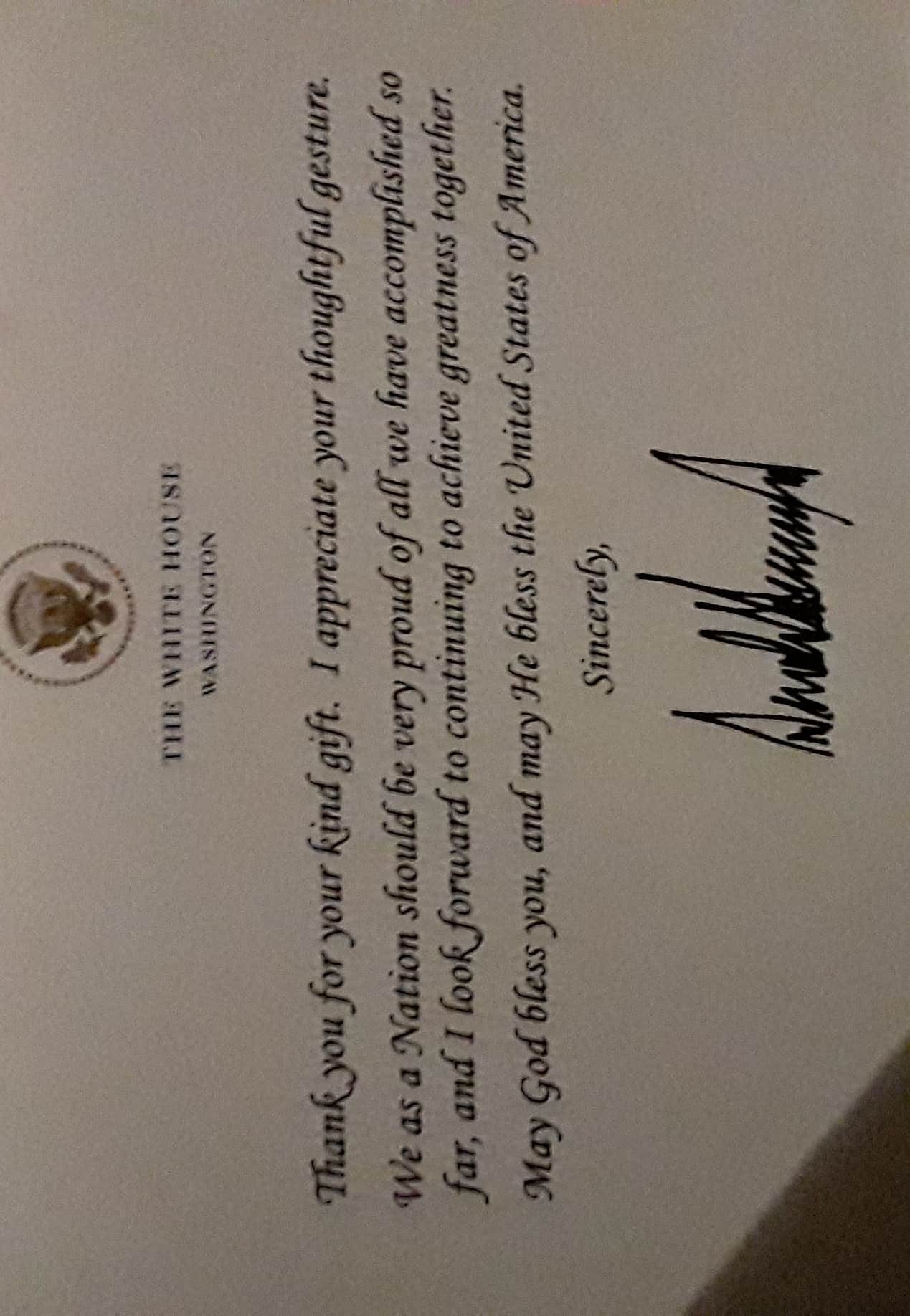 I received a POSTCARD from the WHITEHOUSE thanking me for my gift (I sent a copy of my book to Presi