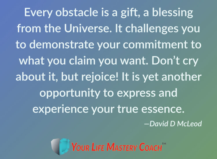 Every obstacle is a gift, a blessing from the Universe. It challenges you to demonstrate your commit