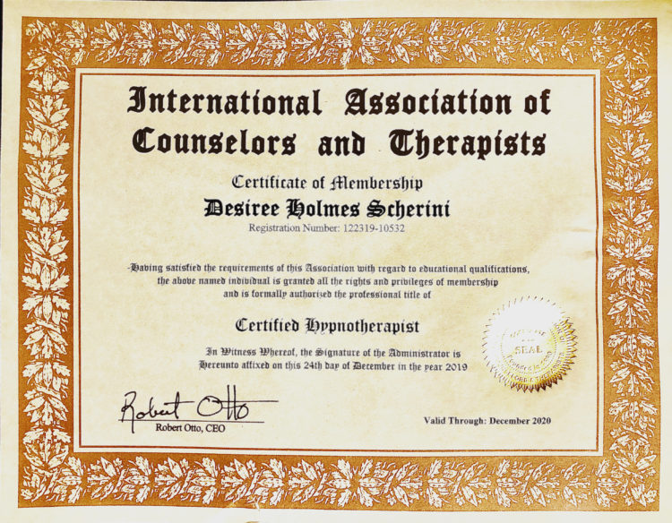 I am Honored to be accepted as a certified member into The International Association of Counselors a