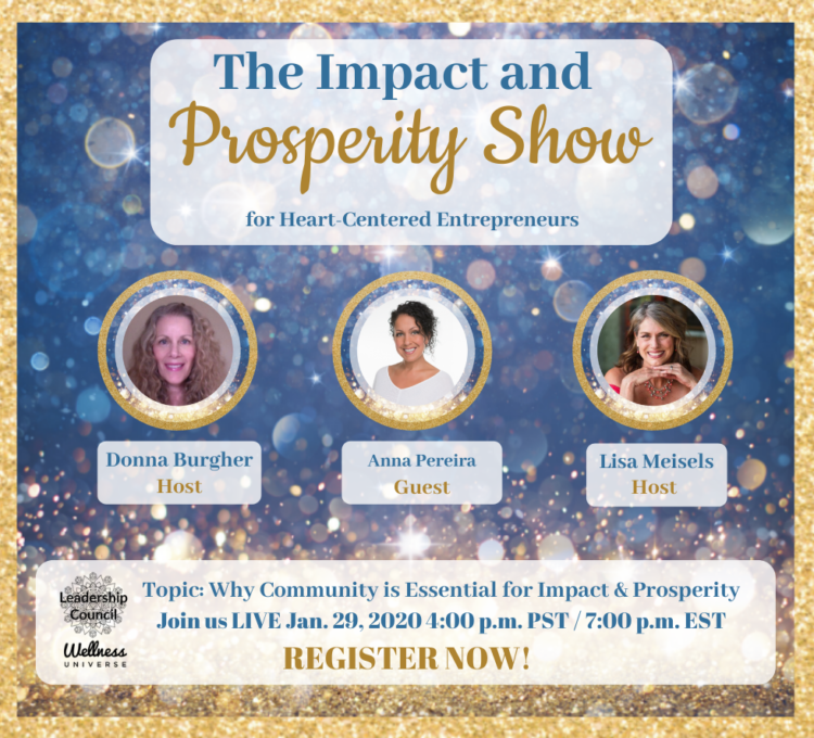 Join us live on our Impact & Prosperity show debut with Anna Pereira, the Founder of the Wellnes