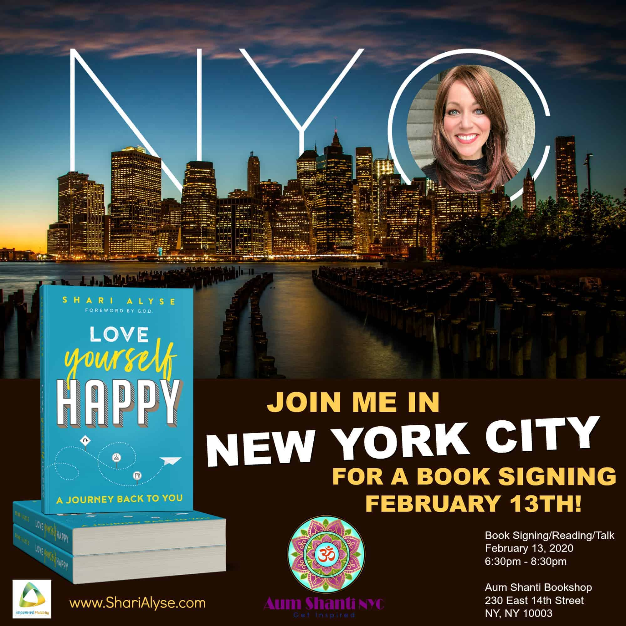 1 week from today, Love Yourself Happy, makes it next stop in NYC! I would love for you to join me!