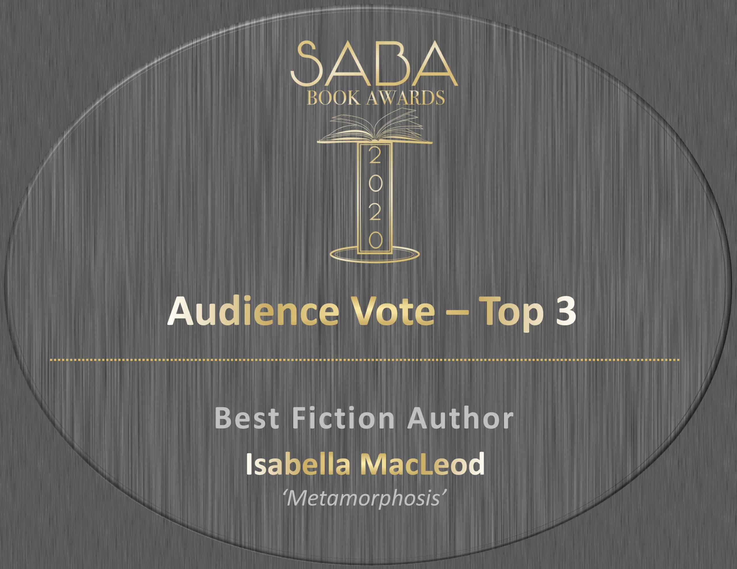 SABA BOOK AWARD CERTIFICATE FOR METAMORPHOSIS metamorphosisbook coverAward Certificate – Isabe