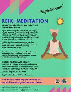 June reiki meditation class flyer