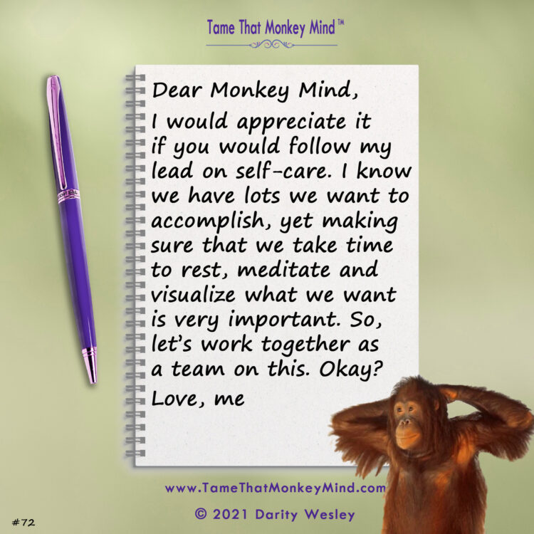 Here's the latest post from my Tame That Monkey Mind website. What's your monkey mind ch