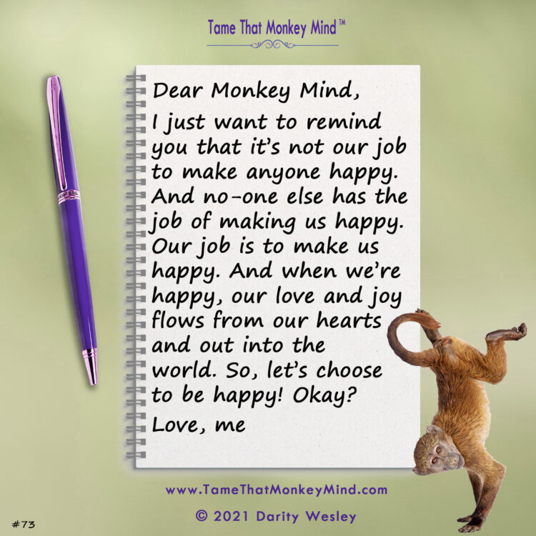 Here's the latest post from my Tame That Monkey Mind website http://www.TameThatMonkeyMind.com