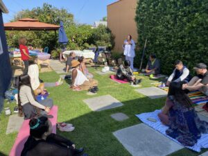 People listening to sound healing