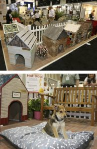One-of-a-kind tiled doghouses will be displayed in the courtyard of the Art Tile Village in the North American Pavilion.