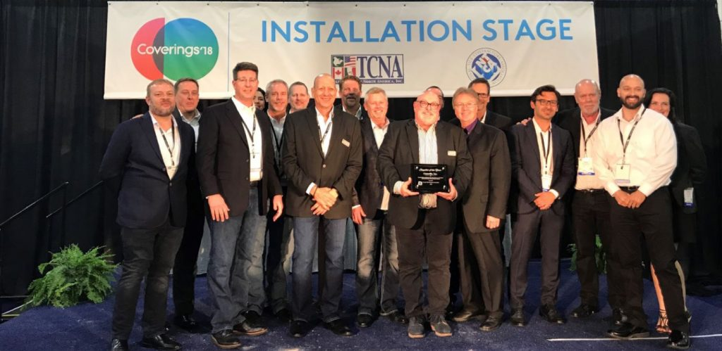 At Coverings 2018, Mark Shannon accepted the CTDA Supplier of the Year Award presented to Crossville, Inc.