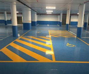 To maintain the desired appearance of the yellow safety lines and deter any color fading or peeling, SPARTACOTE FLEX SB was used.