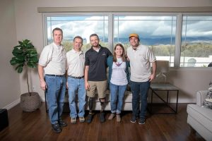 The Mourelatos Tile Pro crew includes (L. to r.): Certified Tile Installer Ed Siebern, John Mourelatos, Caleb and Ashley Brewer and installer Cody Elmer.