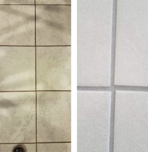 Contrasting grout and tile make misalignment more obvious than less-contrasting grout and tile.