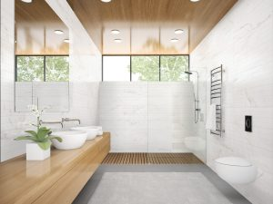 white wall and floor tile