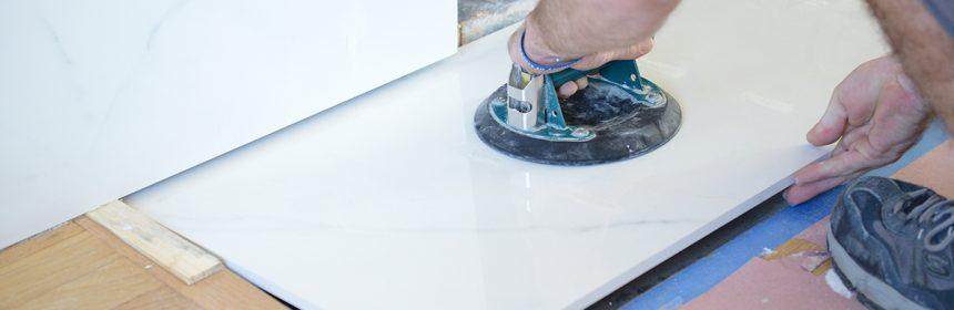Daltile tile being installed