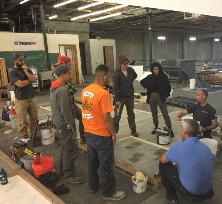 Apprenticeship training with The Oregon-Columbia Tile Trades Training Trust.