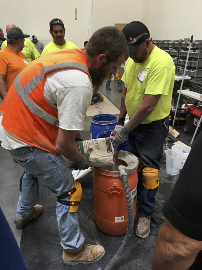 Mixing mortar is not one of the 18 construction tasks listed on Table 1.