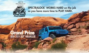 "Flyer of Jeep Wrangler Sport prize in LATICRETE SPECTRALOCK ""Work Hard. Play Hard."" promotion"