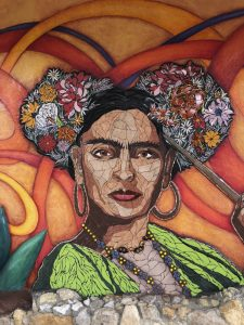 Frida Kahlo mosaic using 5 tones of floor tile