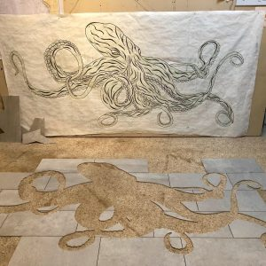 Nordstrom's Kraken drawing and cut out