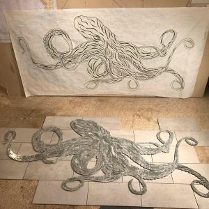 Nordstrom's Kraken drawing and tile