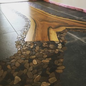 McDaniel said his greatest scribing challenge was installing pebble mosaics around a large piece of walnut in an entryway.